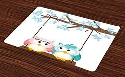 Ambesonne Nursery Place Mats Set of 4, Two Owls in Love on a