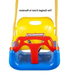 Outdoor 3 In 1 High Back Toddler Baby Swing Set Children Ful