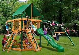 Outdoor Chateau Swing Set with Deluxe Green Vinyl Canopy & T