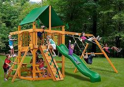 Outdoor Chateau Swing Set with Deluxe Green Vinyl Canopy & N