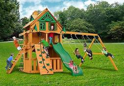 Outdoor Clubhouse Treehouse Swing Set w/Standard Wood Roof &