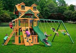 Outdoor Kids Clubhouse Swing Set with Standard Wood Roof & T