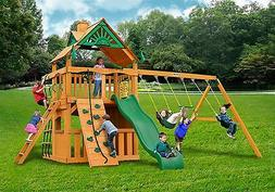 Outdoor Kids Clubhouse Swing Set with Standard Wood Roof & N