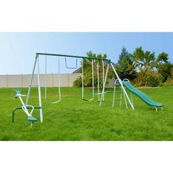 Sportspower Outdoor Live Oak Metal Swing and Slide Set with