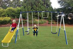 Outdoor Metal 2 Swing Set Kit with Slide and Accessories for