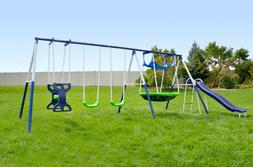 Sportspower Outdoor Rosemead Metal Swing and Slide Set with