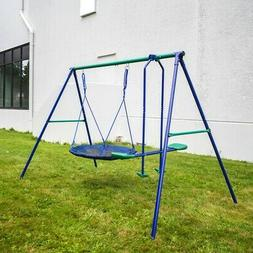 ALEKO Outdoor Sturdy Child Swing Set with Glider and Saucer
