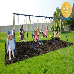 Sportspower Outdoor Super 8 Fun Metal Swing Set With 6Ft Hea