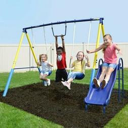 Outdoor Swingset  Swing Play Set Metal Kids Playground Plays