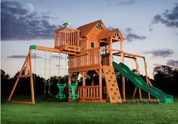 Outdoor Wooden Swing Set Toy Playhouse PlaySet with Slide La