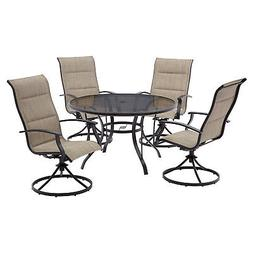 Patio Dining Set 5pc Steel Woven Garden Furniture 4 Swivel C