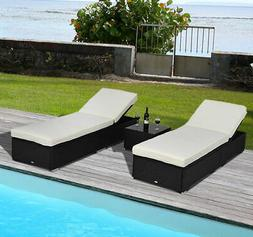 Outsunny 3pc Outdoor Patio Synthetic Rattan Wicker Chaise Lo