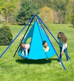Platform Saucer Swing Set with Teepee Cover 400 Lb Capacity