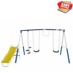 XDP Recreation Play All Day Metal Swing Set with Wavy Slide