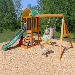 Playground Swing Set Backyard Wooden Playset w/ Slide & Sand
