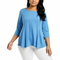 Ny Collection Plus Size Studded Swing Tunic Top, Regatta Blu
