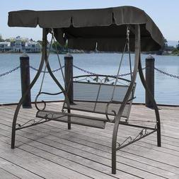Outdoor Porch Swing Deck Furniture with Adjustable Canopy Aw