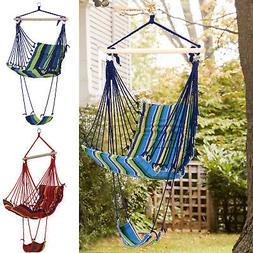 Outsunny Portable Padded Wooden Hanging Hammock Swing Chair