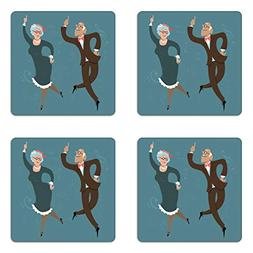 Ambesonne Retirement Party Coaster Set of Four, Elderly Coup