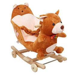 Dporticus Child Rocking Horse Plush Bear Rocker Toy with Whe