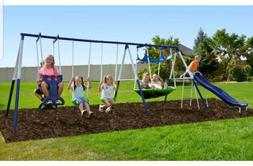 Rosemead metal swing set with saucer and slide fun !!