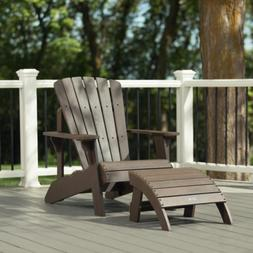 Rustic Brown Finish Adirondack Chair & Ottoman Set Outdoor G