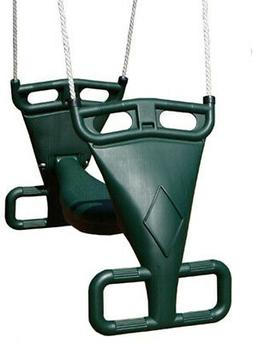 Outdoor Swing Double Glider Set Two Child Can Ride Molded Pl