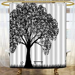 Mikihome Shower Curtains Sets Bathroom A Tree Silhouette wit