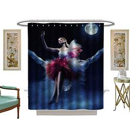 Miki Da Shower Curtains Waterproof Cute Woman Sitting on The