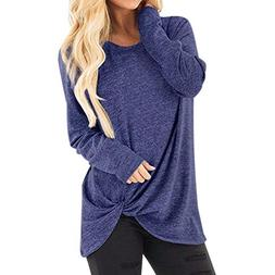 Toimothcn Women Solid Long Sleeve T-Shirt Casual Loose Knot