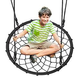 Outdoor Spinner Saucer Tree Swing - Hanging Tree Round Net C