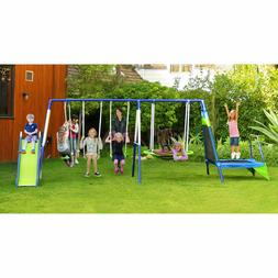 Sportspower Mountain View Metal Swing, Slide and Trampoline