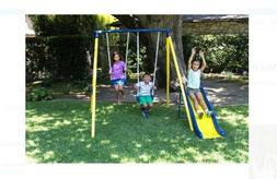 Sportspower Power Play Time Metal Swing Set Outdoor Kids Bac