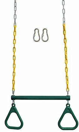 "Jungle Gym Kingdom 18"" Trapeze Swing Bar Rings 48"" Heavy Dut"