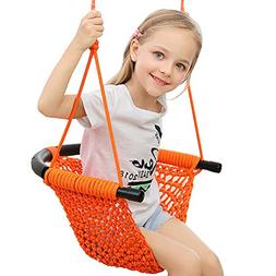 Swing Seat for Kids with Adjustable Ropes, Hand-kitting Rope