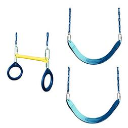 Swing Seat and Ring/Trapeze Bundle - Includes 2 Blue Belted