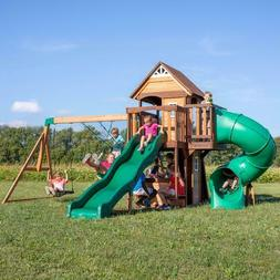 Backyard Discovery Swing Set Cedar Cove Wooden Outdoor Playg