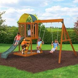 swing set children play sets wooden structure
