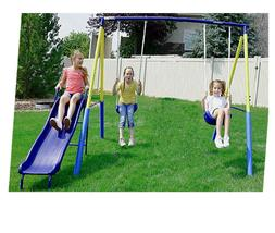 Swing Set For Backyard Metal Playground Slide Fun Playset Ou