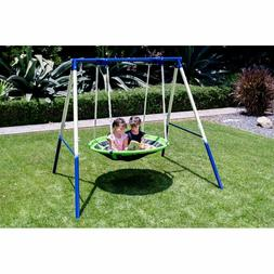 saucer swing set flying kids play outdoor