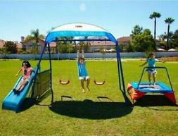 Swing Set Playground Metal Swingset Outdoor Play Slide Kids