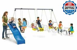 swing set playground metal swingset outdoor play