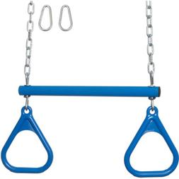 SWING SET STUFF TRAPEZE BAR / RINGS WITH UNCOATED CHAIN BLUE
