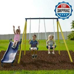 Swingset Set Metal Playground Play Playset Outdoor Slide Fly