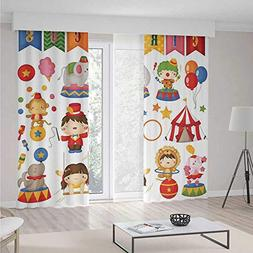Thermal Insulated Blackout Grommet Window Curtains,Circus De