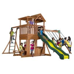 Backyard Discovery Thunder Ridge All Cedar Wood Playset Swin