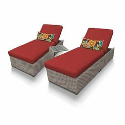 TKC Oasis 3 Piece Patio Chaise Lounge Set in Red