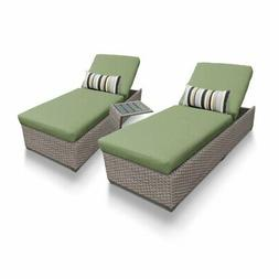 TKC Oasis 3 Piece Patio Chaise Lounge Set in Green