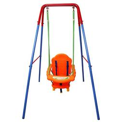 Costzon Toddler Swing Seat High Back, A-Frame Outdoor Swing