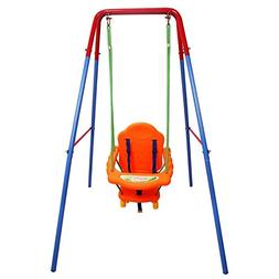 Costzon Toddler Swing Set, High Back Seat with Safety Belt,